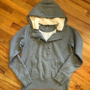 GAP Grey 3/4 Zip Pullover Hoodie Sweatshirt